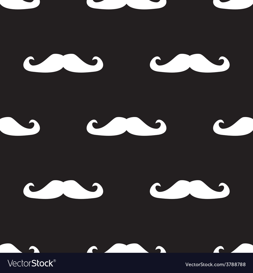 Tile pattern white mustache on black background vector | Price: 1 Credit (USD $1)