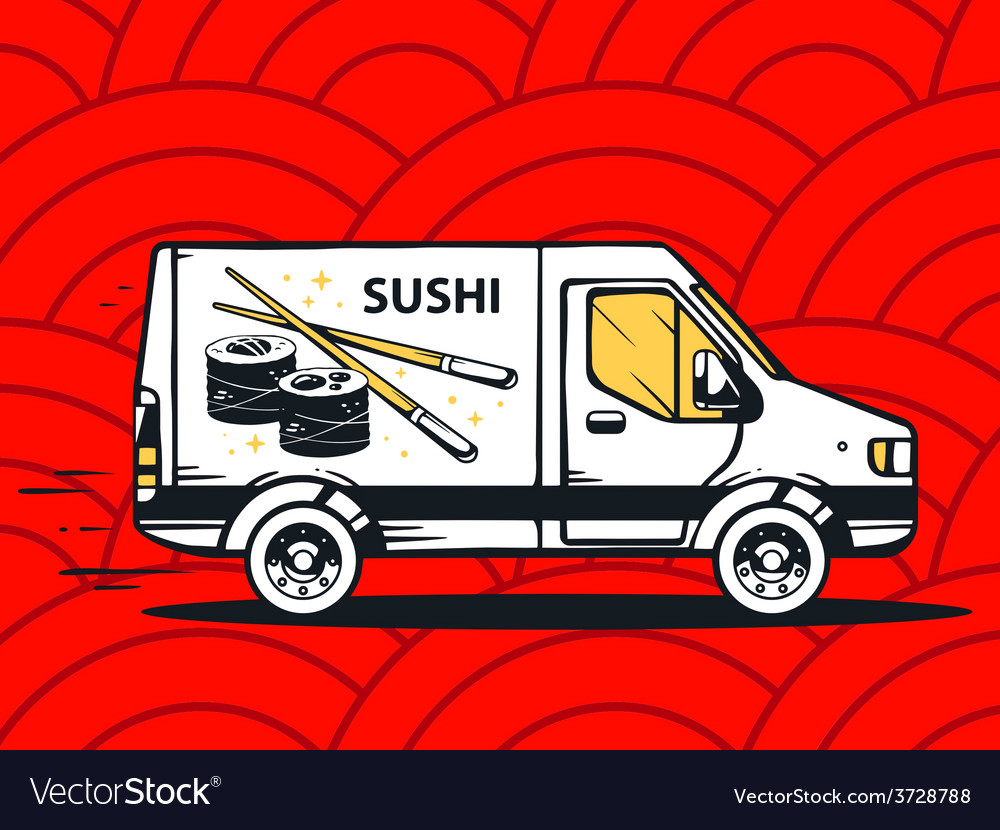Van free and fast delivering sushi to cus vector | Price: 1 Credit (USD $1)