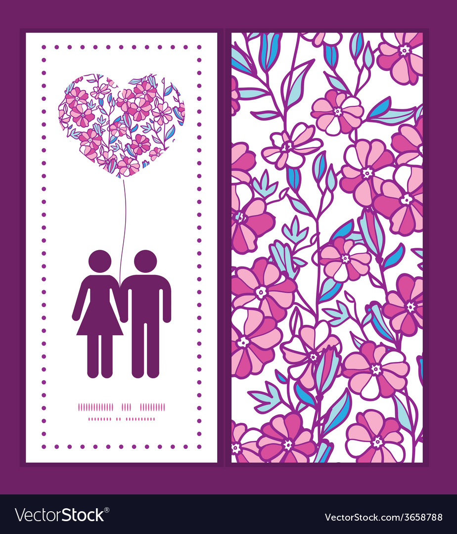 Vibrant field flowers couple in love silhouettes vector | Price: 1 Credit (USD $1)