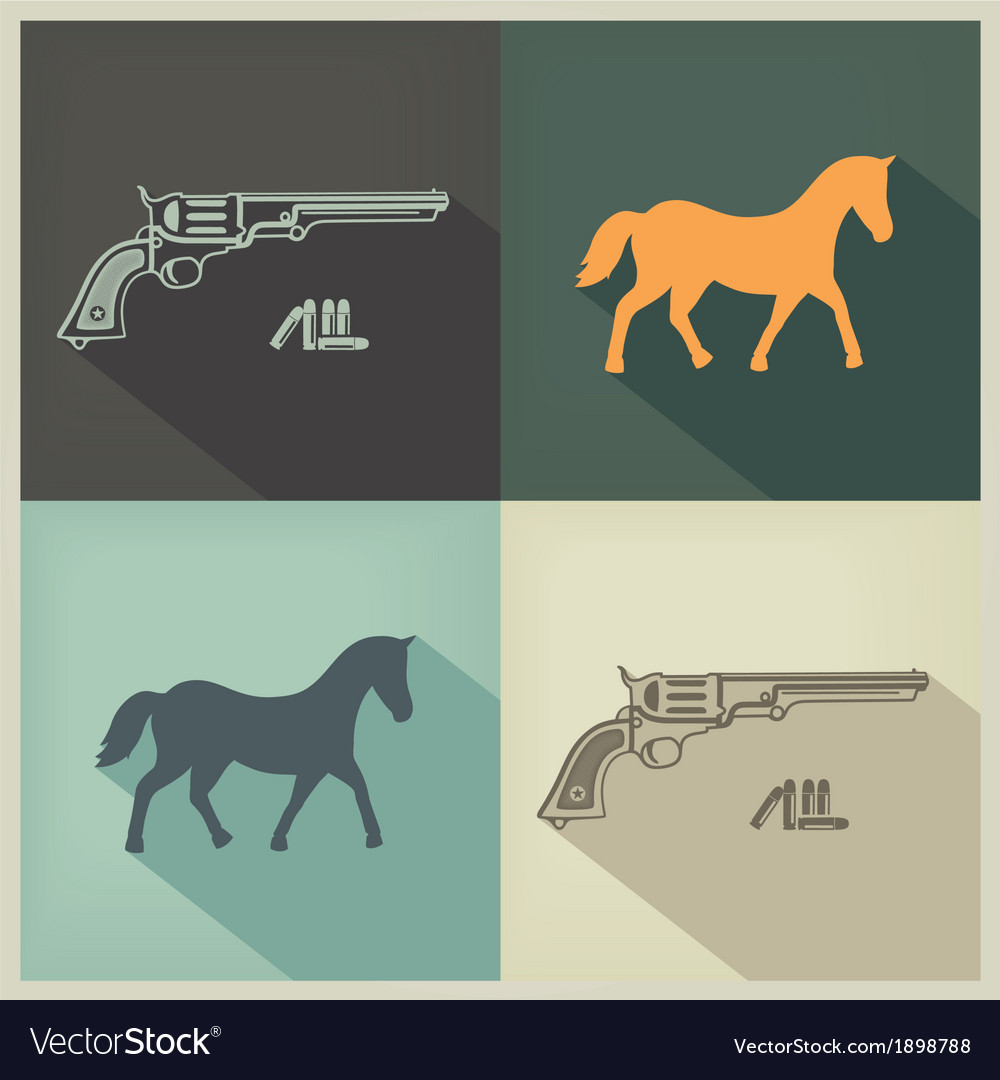 Western flat design sign vector | Price: 1 Credit (USD $1)