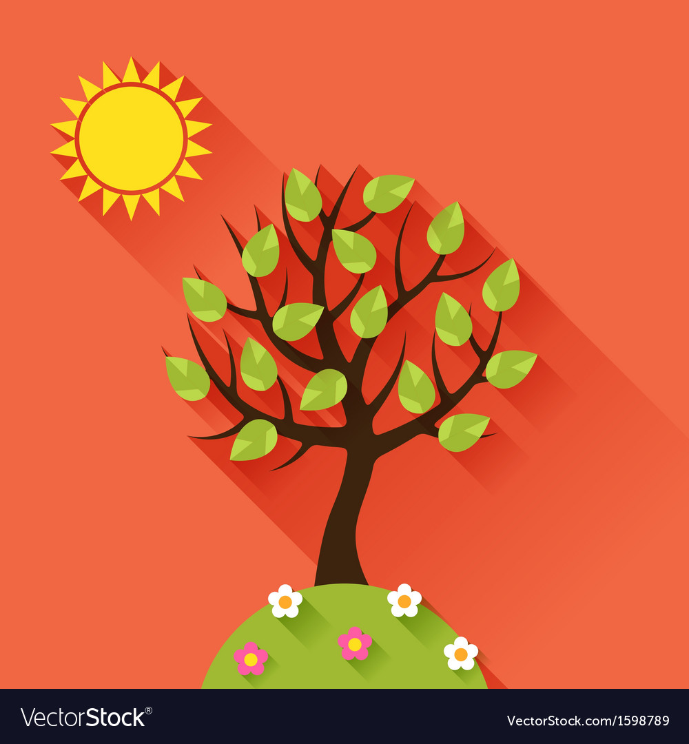 Background with summer tree in flat design style vector | Price: 1 Credit (USD $1)