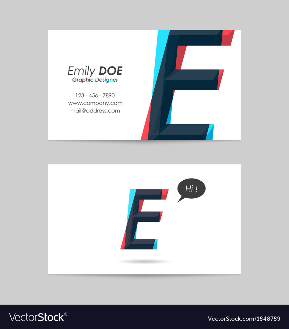 Business card template - letter e vector | Price: 1 Credit (USD $1)
