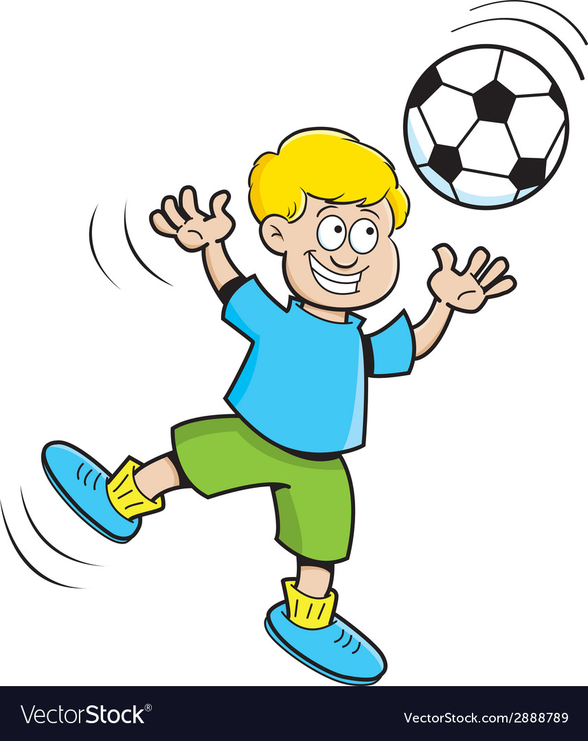 Cartoon boy playing soccer vector | Price: 1 Credit (USD $1)