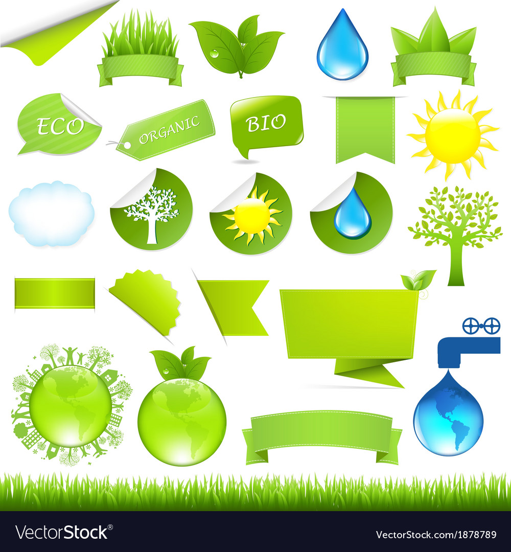 Collection eco design elements vector | Price: 1 Credit (USD $1)