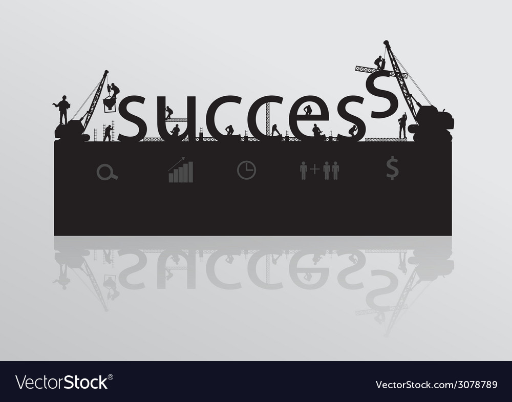 Construction site crane building success text vector | Price: 1 Credit (USD $1)