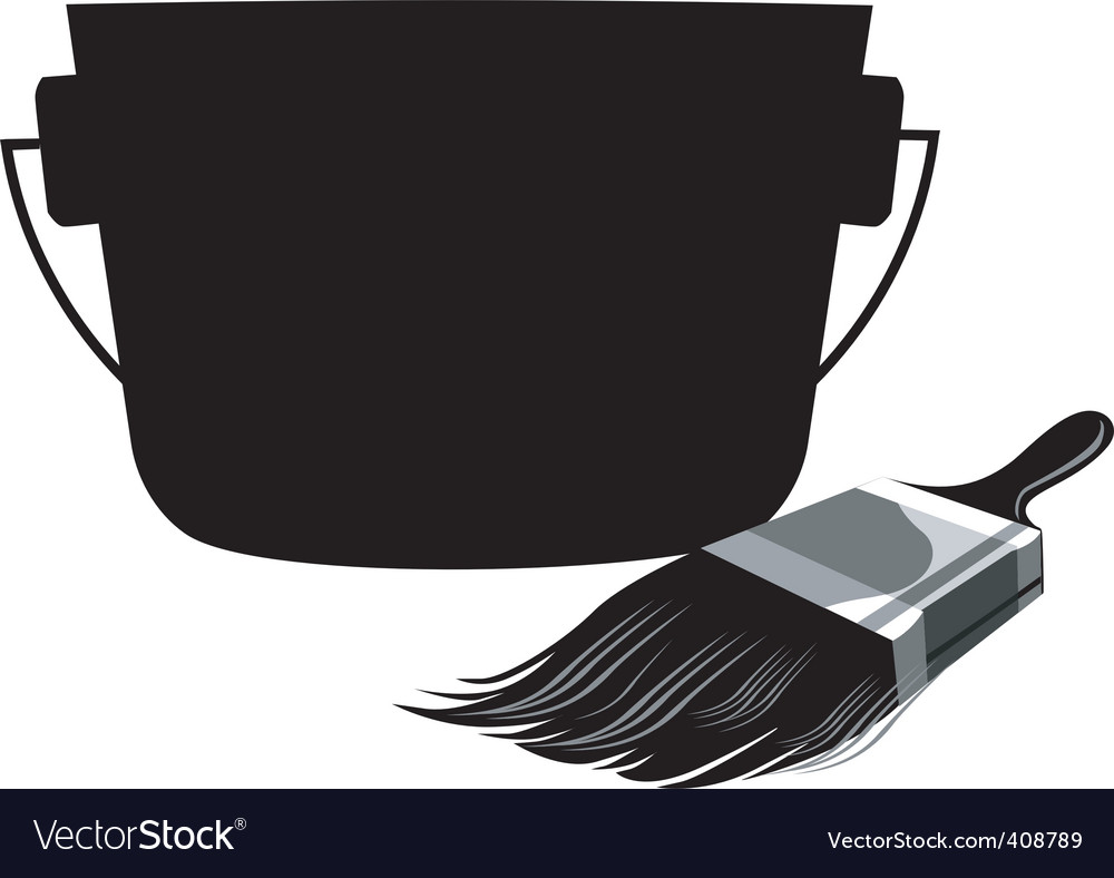 Container and painting brush vector | Price: 1 Credit (USD $1)