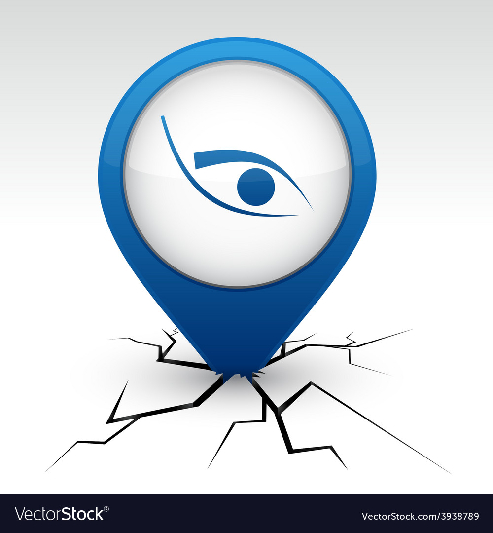 Eye blue icon in crack vector | Price: 1 Credit (USD $1)