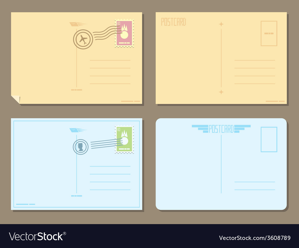 Flat design of 4 postcards vector