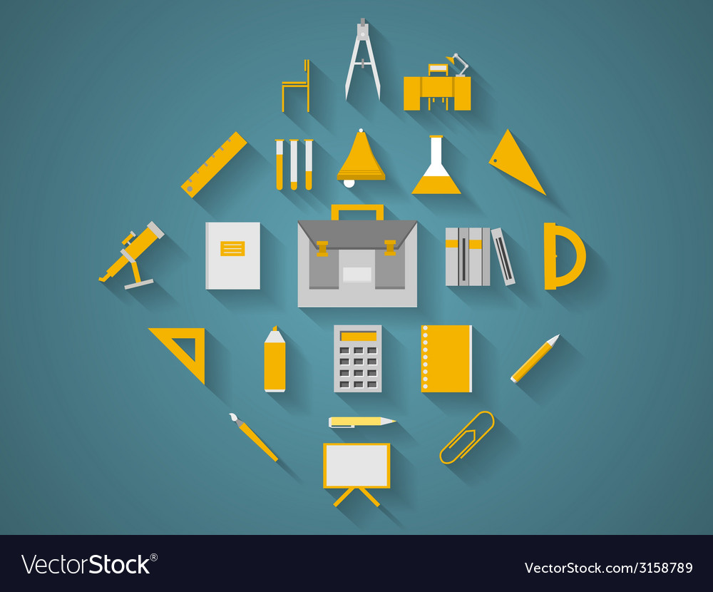 Flat icons for school supplies vector | Price: 1 Credit (USD $1)