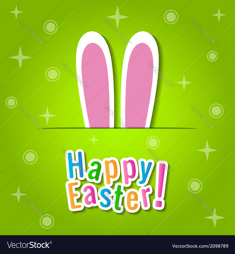 Happy easter greeting card with bunny ears vector | Price: 1 Credit (USD $1)