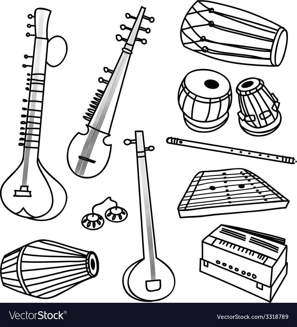 Indian instruments vector | Price: 1 Credit (USD $1)
