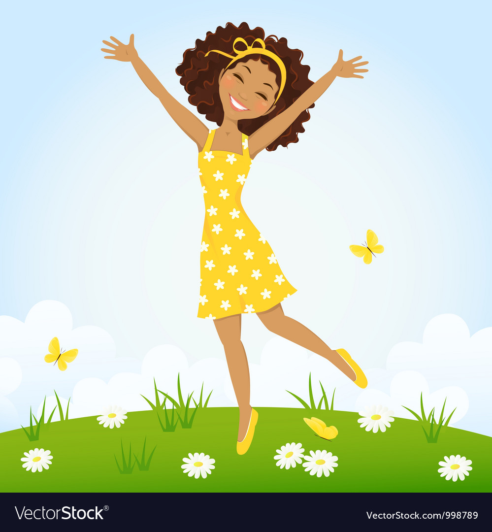 Jumping girl vector | Price: 3 Credit (USD $3)