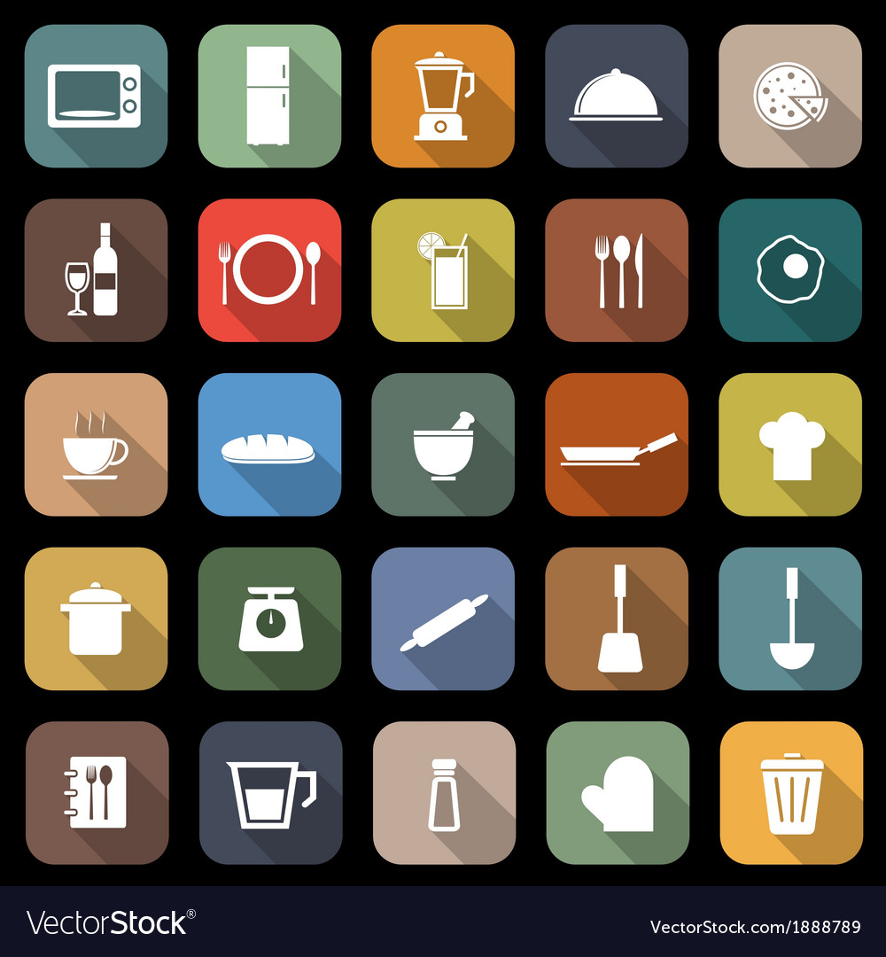 Kitchen flat icons with long shadow vector | Price: 1 Credit (USD $1)