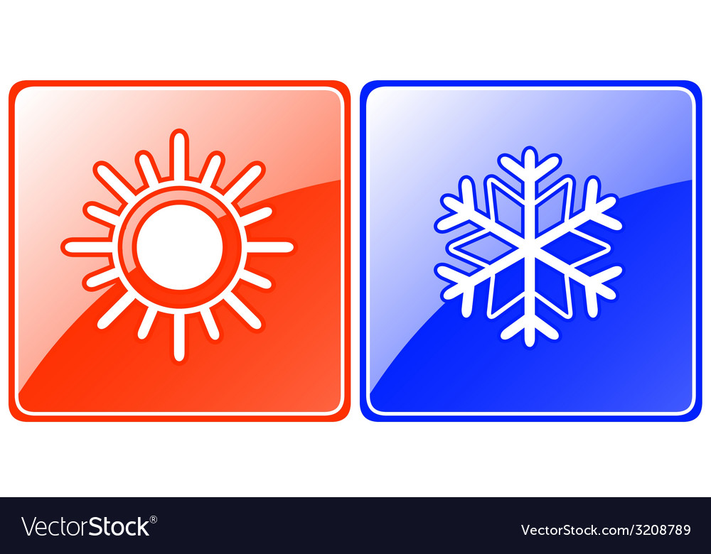 Season buttons with snowflake and sun vector | Price: 1 Credit (USD $1)