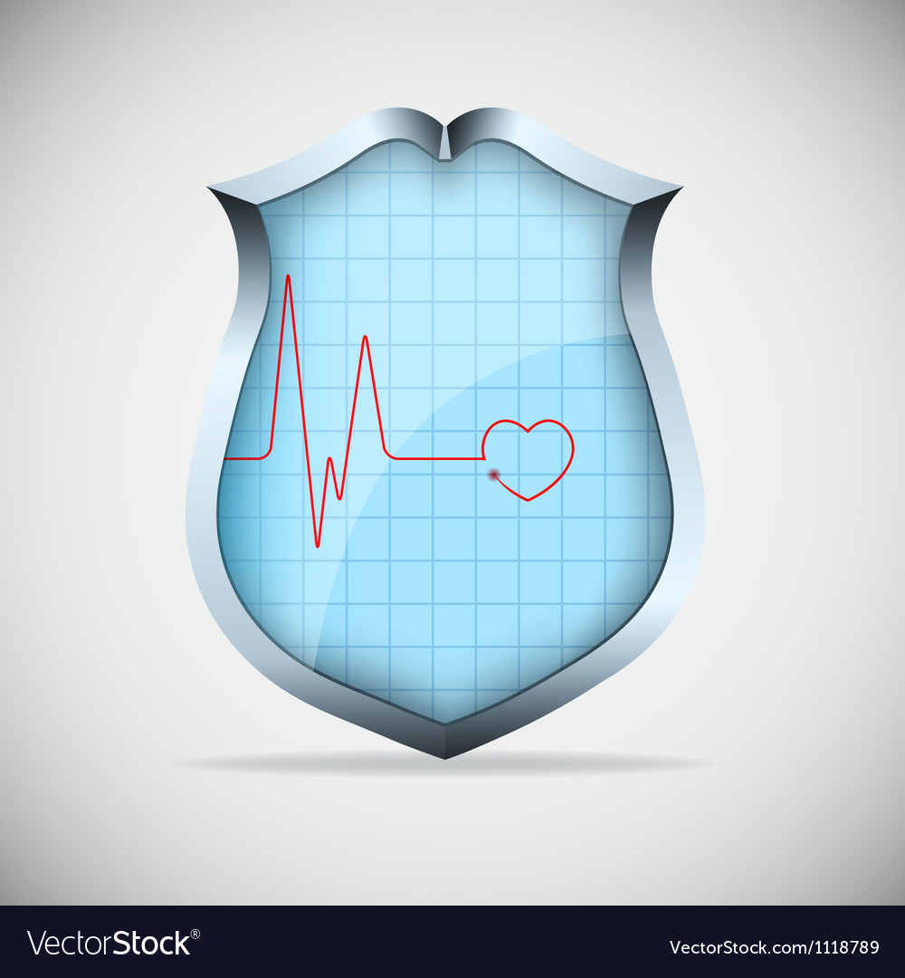Shield with pulse vector | Price: 1 Credit (USD $1)