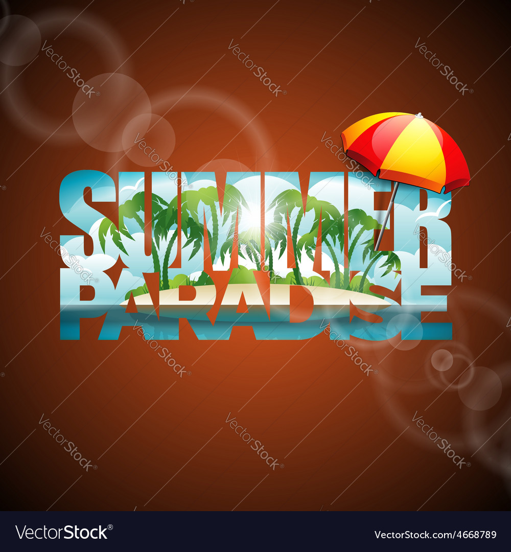 Summer holiday with sunshade vector | Price: 5 Credit (USD $5)