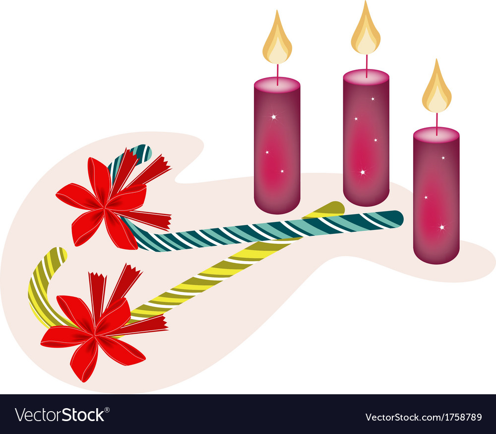 Two lovely candy canes and three christmas candles vector | Price: 1 Credit (USD $1)