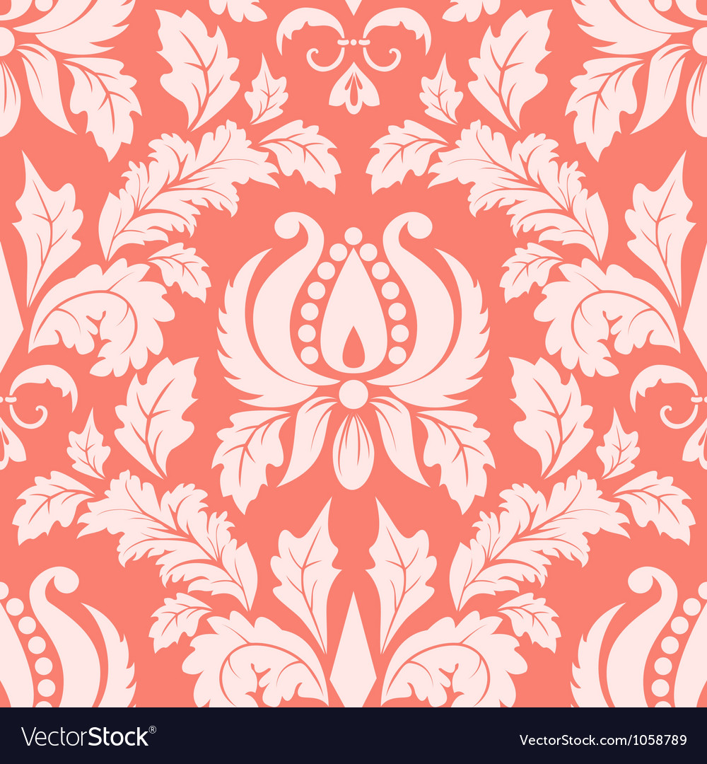 Vintage damask seamless salmon pattern vector | Price: 1 Credit (USD $1)