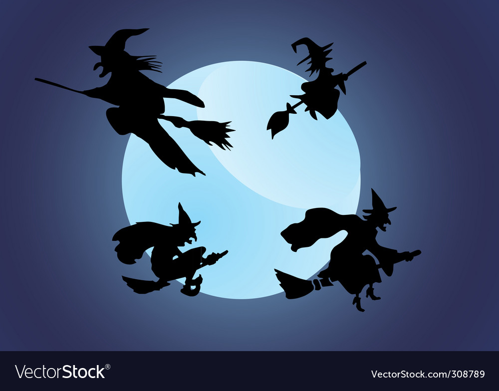Witch and city vector | Price: 1 Credit (USD $1)