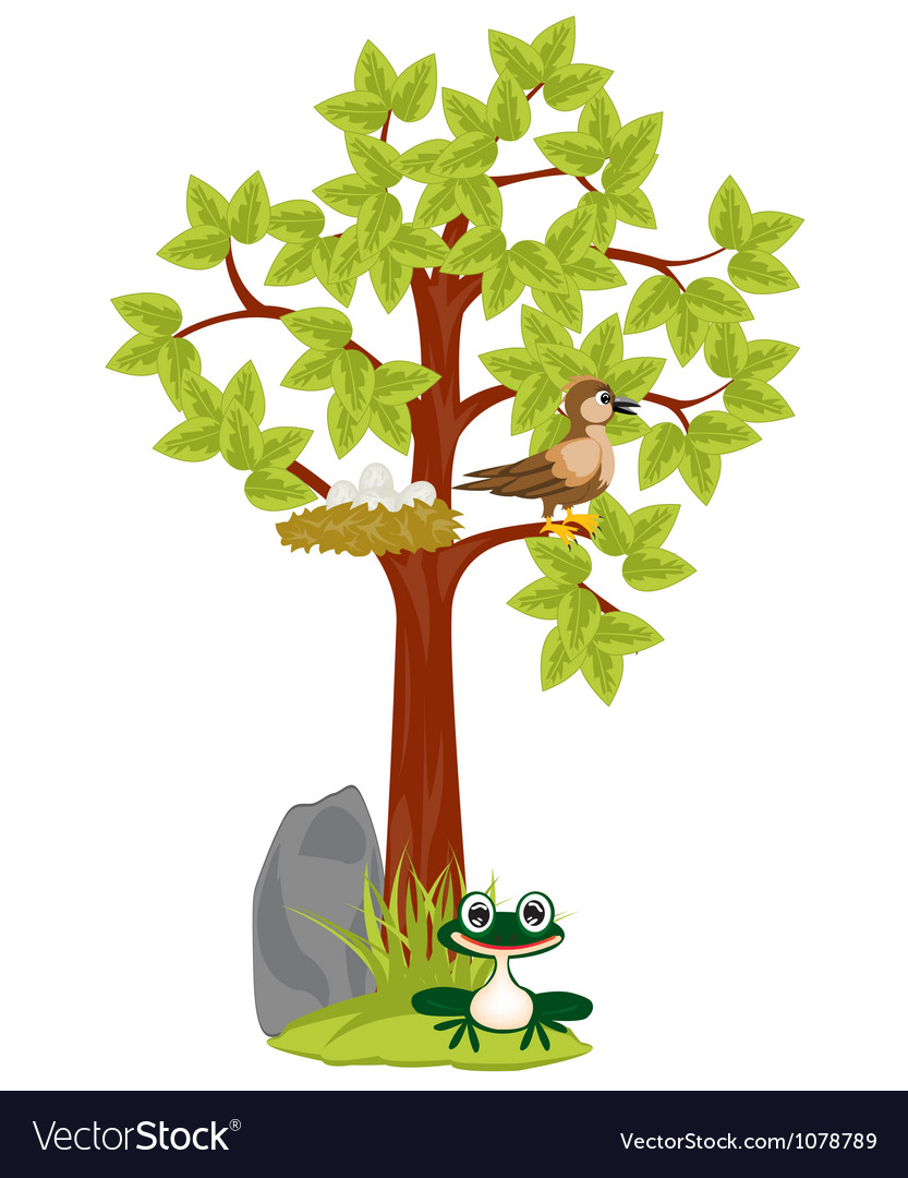 Year tree with jack and bird vector | Price: 1 Credit (USD $1)