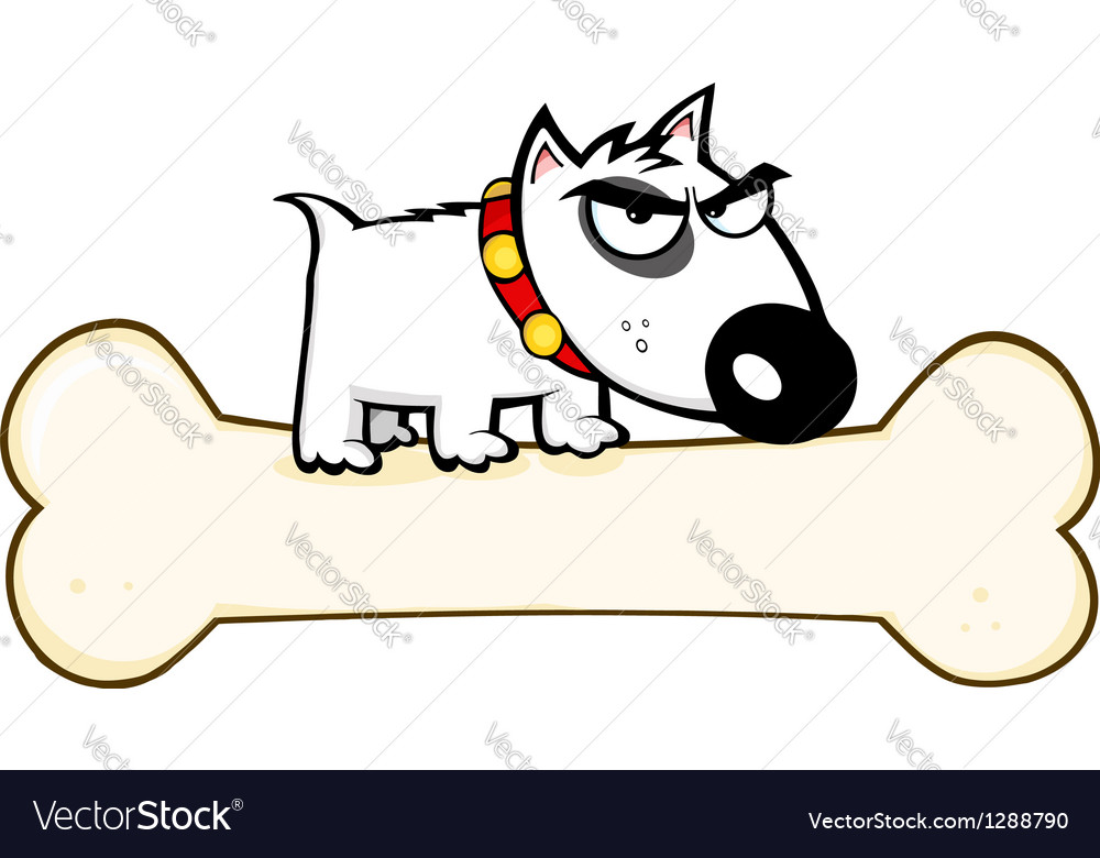 Angry dog bull terrier stepped on big bone vector | Price: 1 Credit (USD $1)