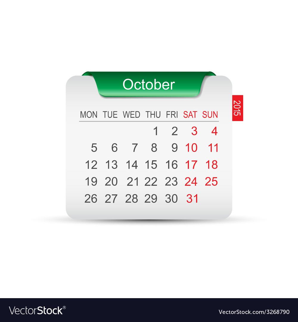 Calendar october 2015 vector | Price: 1 Credit (USD $1)