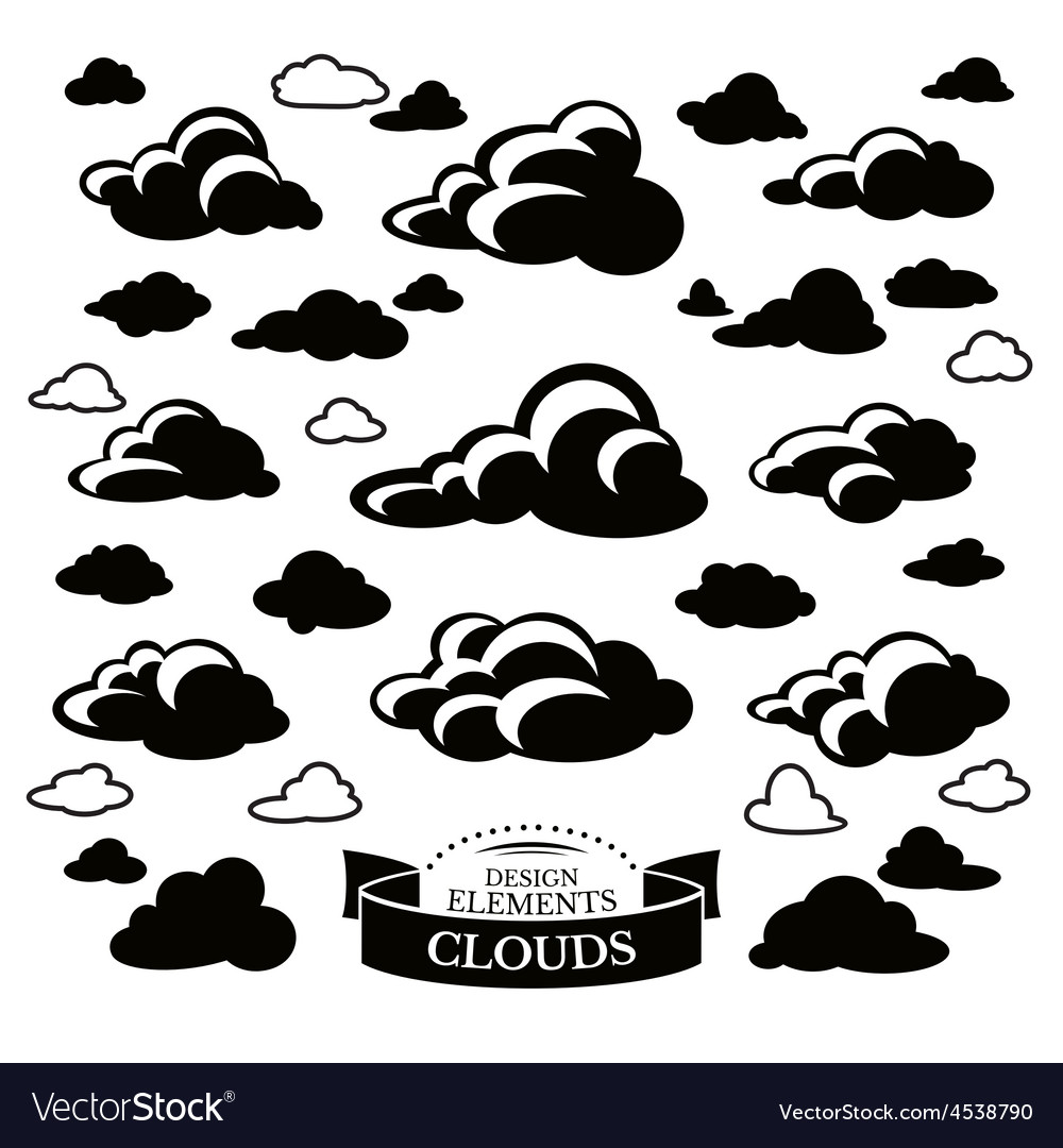 Collection of different cloud icons vector   Price: 1 Credit (USD $1)