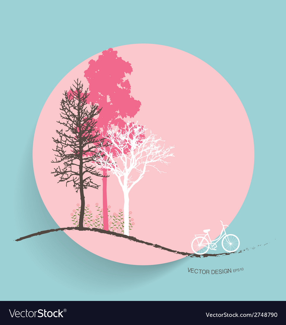 Cute card with trees background vector | Price: 1 Credit (USD $1)