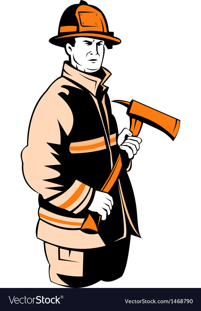 Fireman fire fighter holding an ax vector | Price: 1 Credit (USD $1)