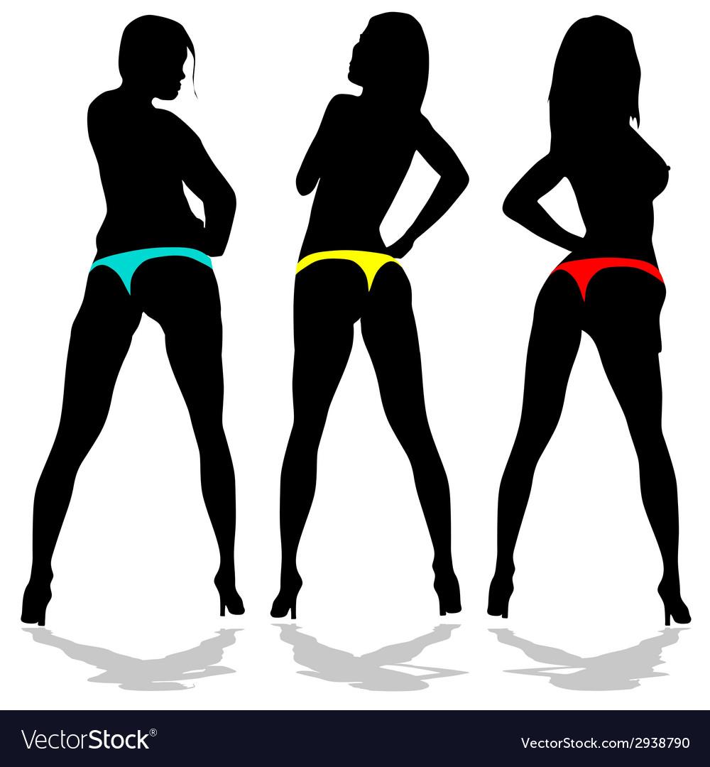 Girl in underwear in three color vector | Price: 1 Credit (USD $1)