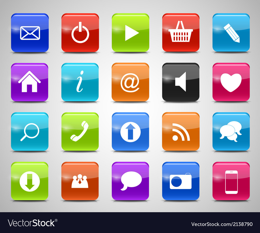 Glass button icon set vector | Price: 1 Credit (USD $1)