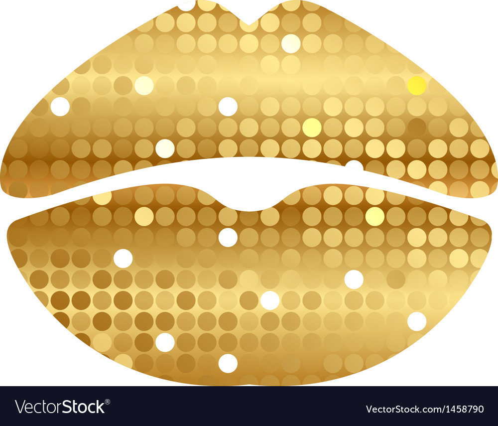 Gold shiny lips vector | Price: 1 Credit (USD $1)