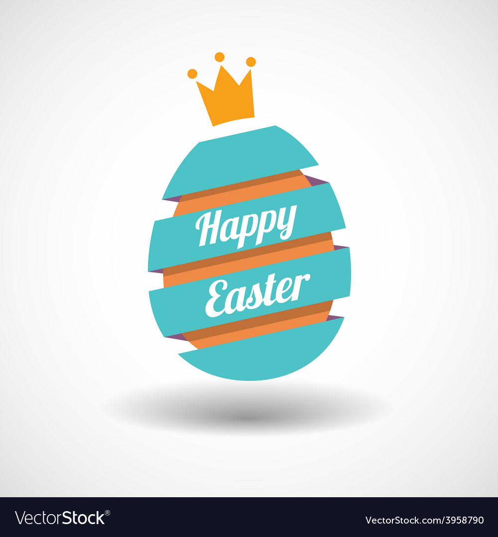 Happy easter egg ribbon and golden egg vector | Price: 1 Credit (USD $1)