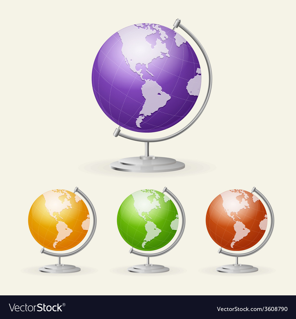 School globe set isolated on white vector | Price: 1 Credit (USD $1)