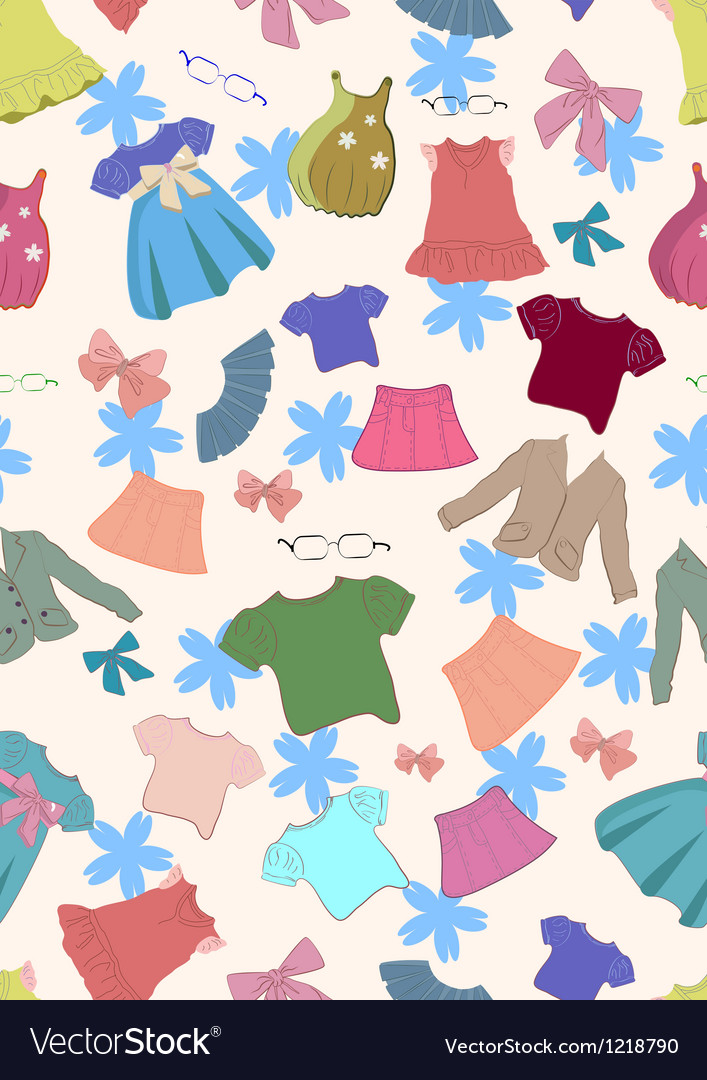 Seamless background with children clothes vector | Price: 1 Credit (USD $1)