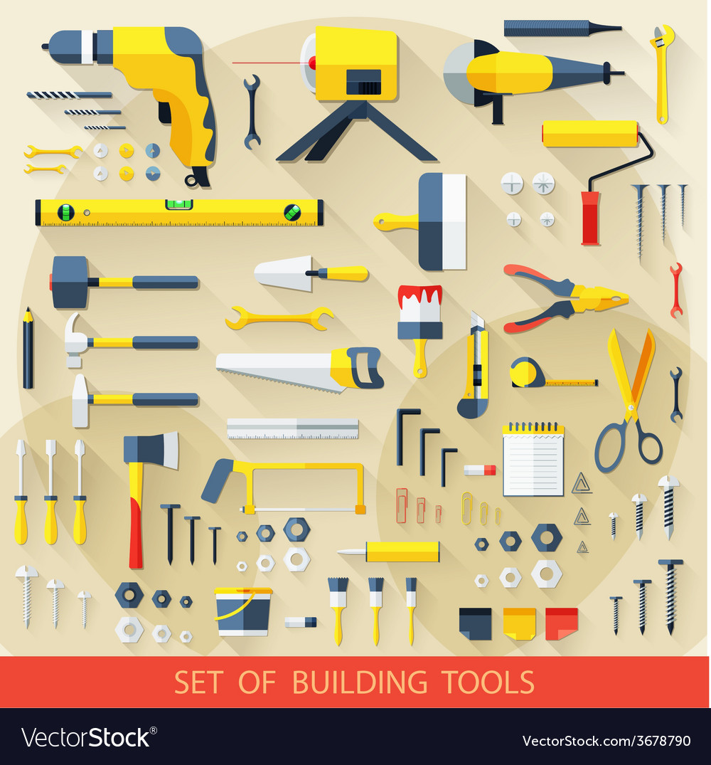 Set of building tools vector | Price: 1 Credit (USD $1)