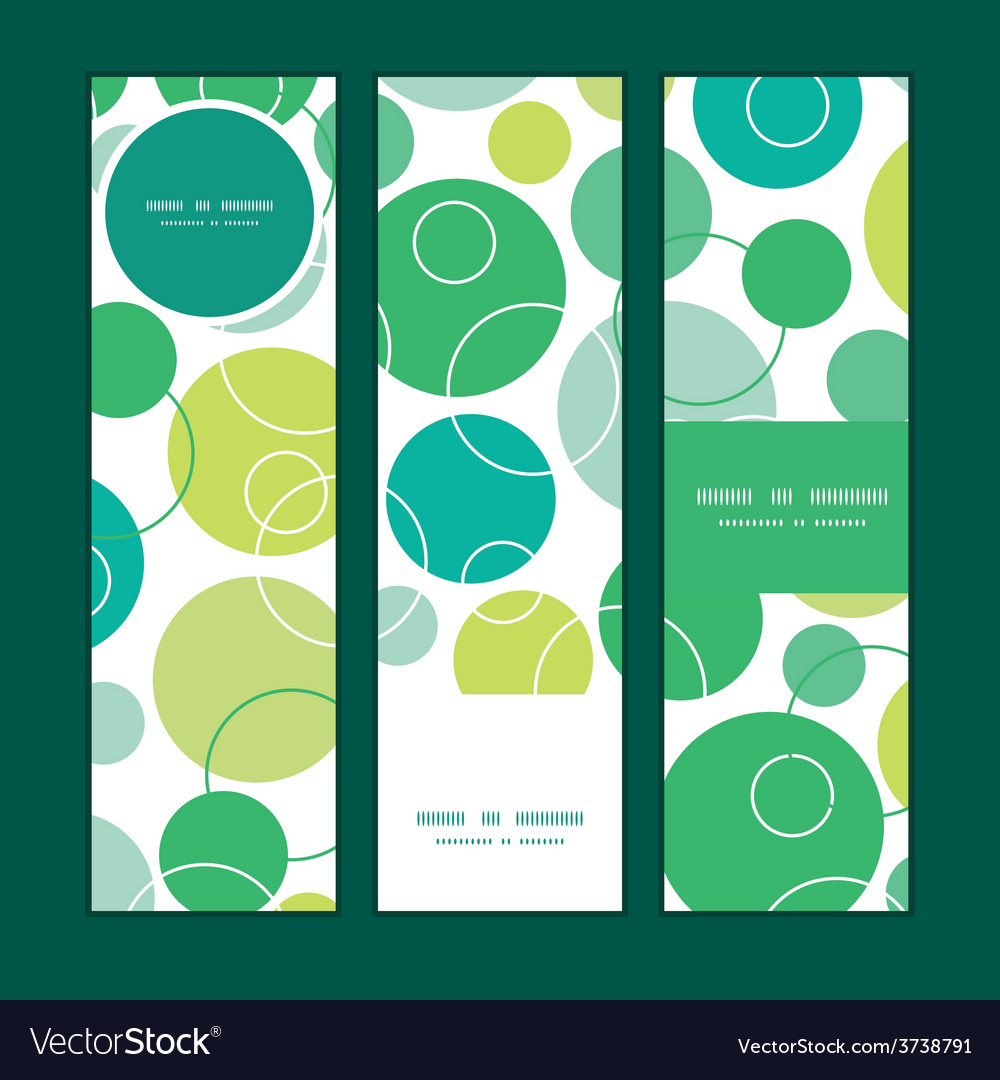 Abstract green circles vertical banners set vector | Price: 1 Credit (USD $1)