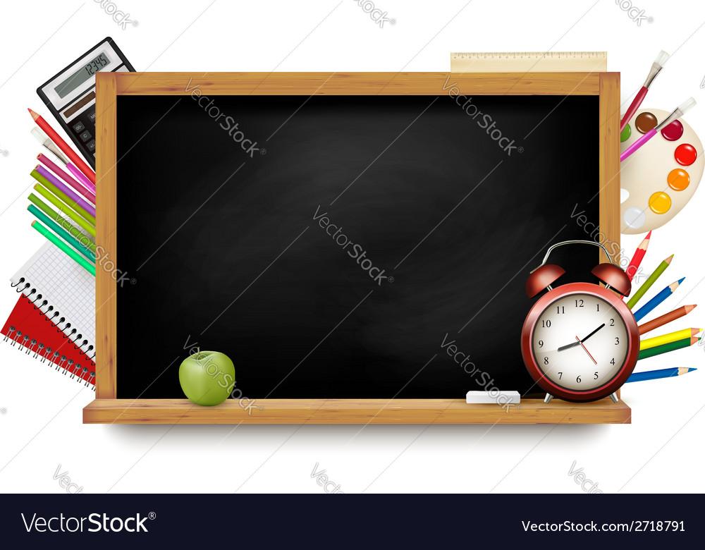 Back to school blackboard with school supplies vector   Price: 1 Credit (USD $1)