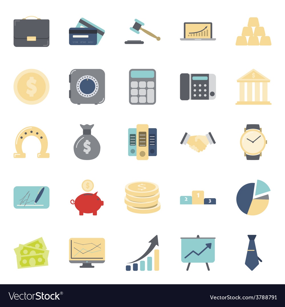 Bisiness and finance flat icons set vector | Price: 1 Credit (USD $1)
