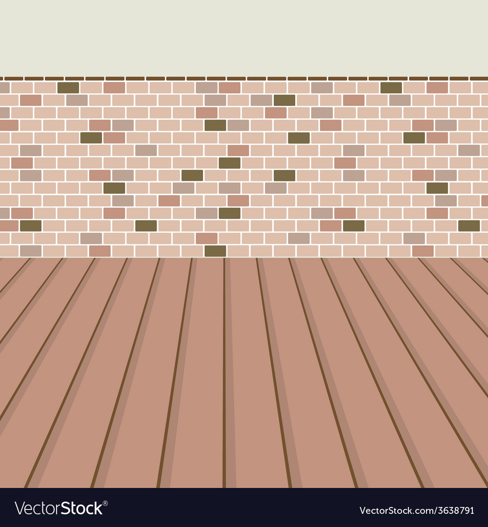 Brick balcony with wooden floor vector | Price: 1 Credit (USD $1)