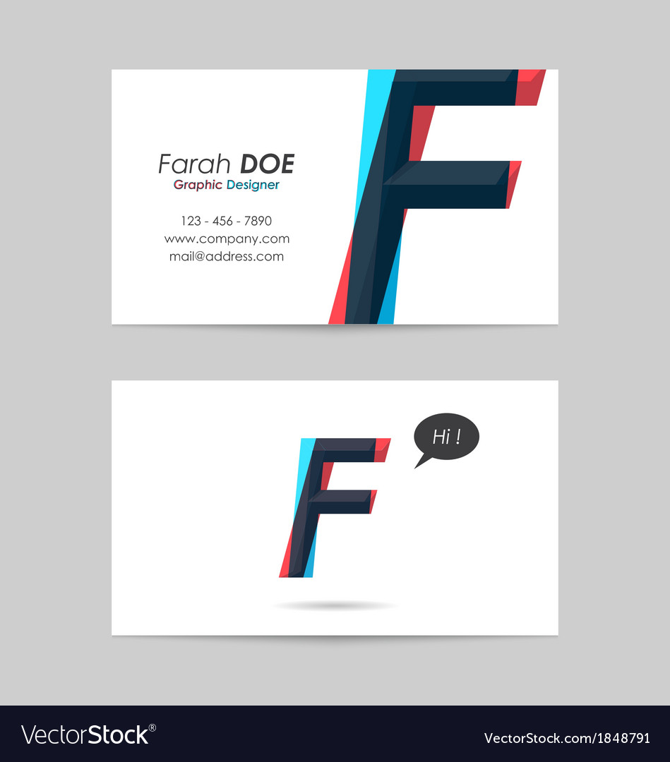 Business card template - letter f vector | Price: 1 Credit (USD $1)