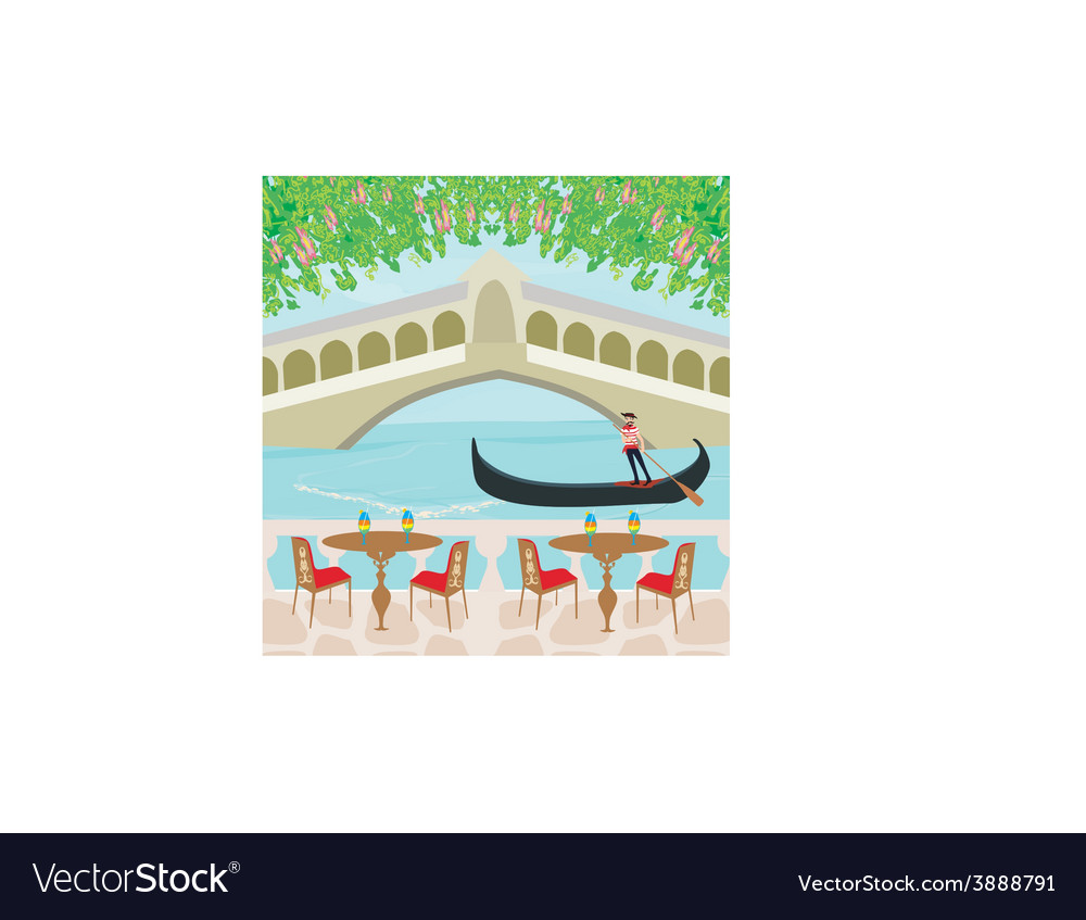 Cafe in venice gondola in the background vector | Price: 1 Credit (USD $1)