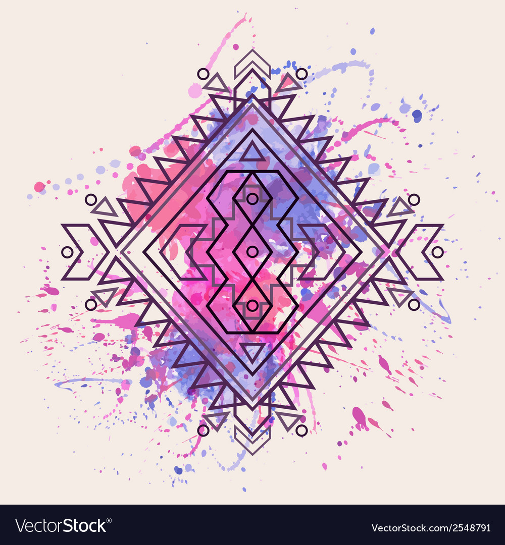 Decorative ethnic pattern with watercolor splash vector | Price: 1 Credit (USD $1)