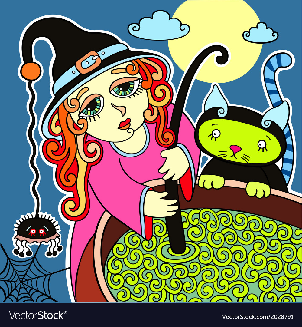 Halloween cute witch with black cat prepares potio vector | Price: 1 Credit (USD $1)