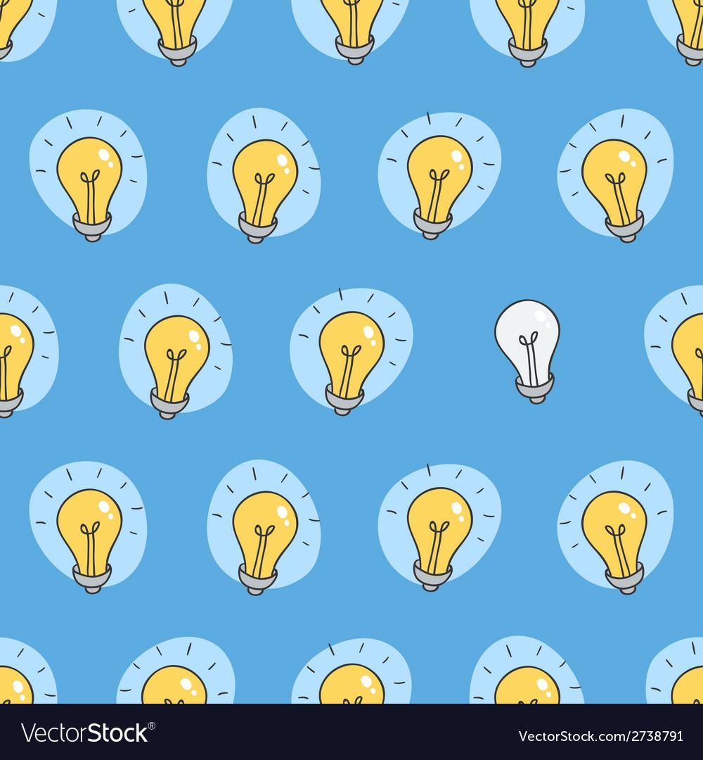 Hand drawn seamless pattern of light bulbs idea vector   Price: 1 Credit (USD $1)