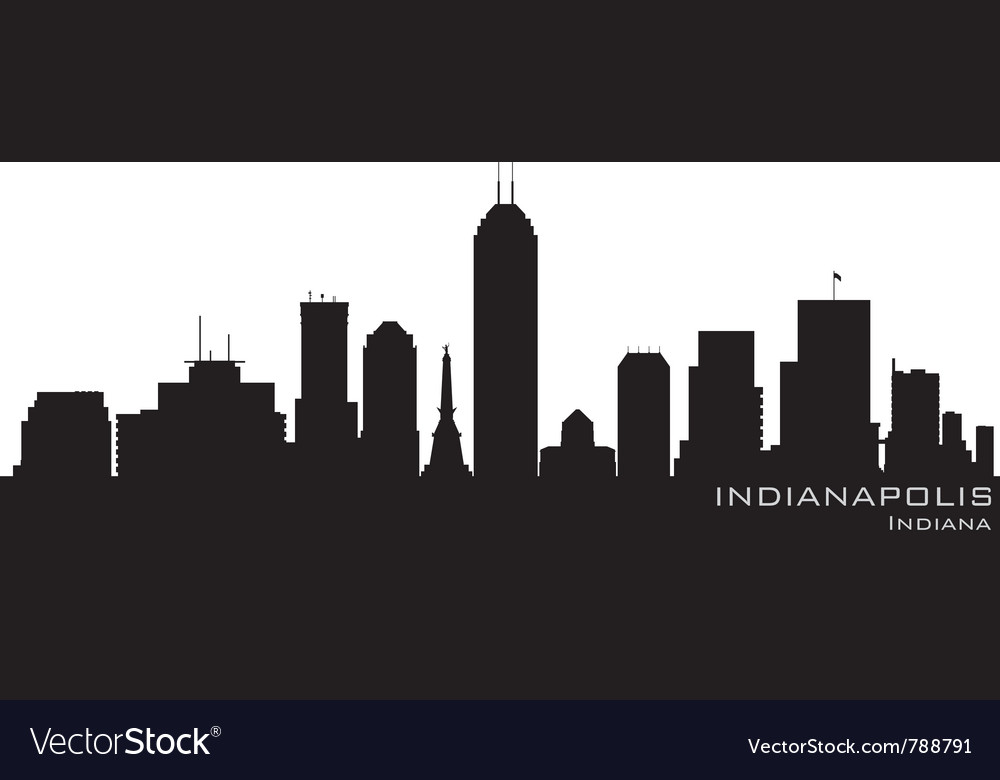 Indianapolis indiana skyline detailed silhouette vector | Price: 1 Credit (USD $1)