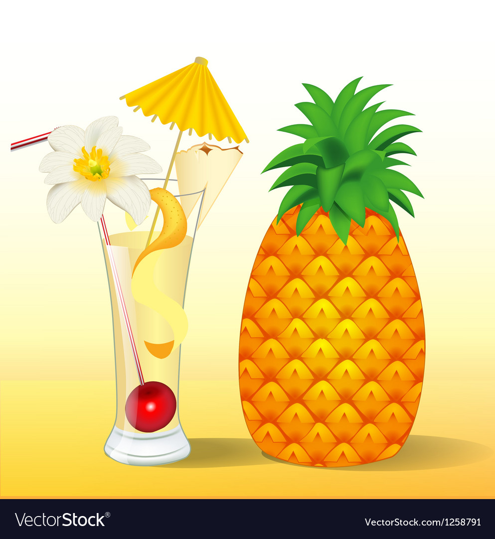 Pineapple juice in a glass with a flower vector | Price: 1 Credit (USD $1)
