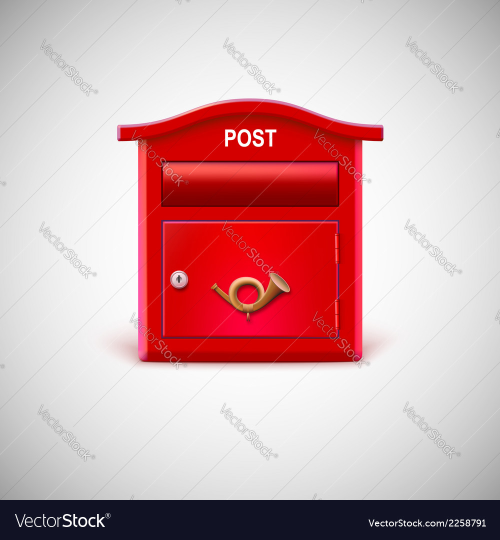 Red mailbox with the postal horn vector | Price: 1 Credit (USD $1)