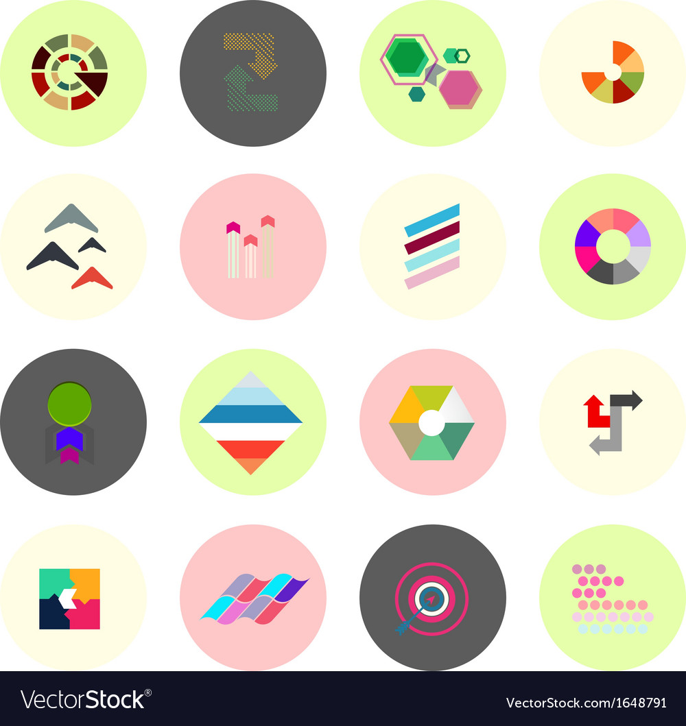 Set of business infographics icons shapes vector | Price: 1 Credit (USD $1)