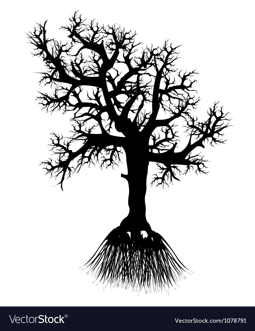 Silhouette tree with root vector | Price: 1 Credit (USD $1)